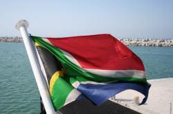 SA flag on boat to RobbenISland
