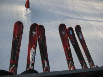 New matching skis for the girls!