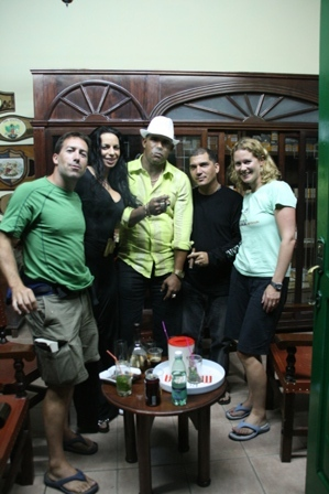 Cuban cigar toting friends