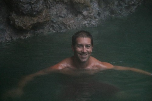 Cathal enjoying the hot springs